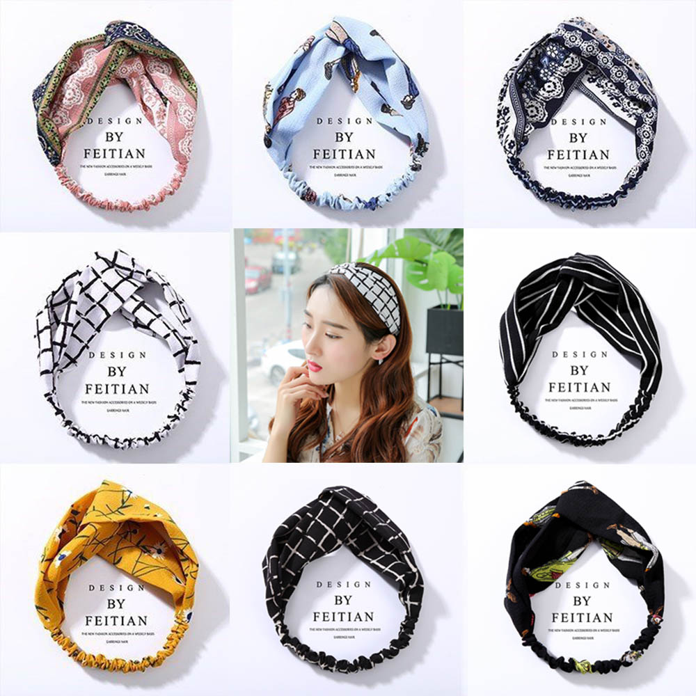 Korean Style Headwrap Elastic Hairband Women Twisted Headband Floral Turban