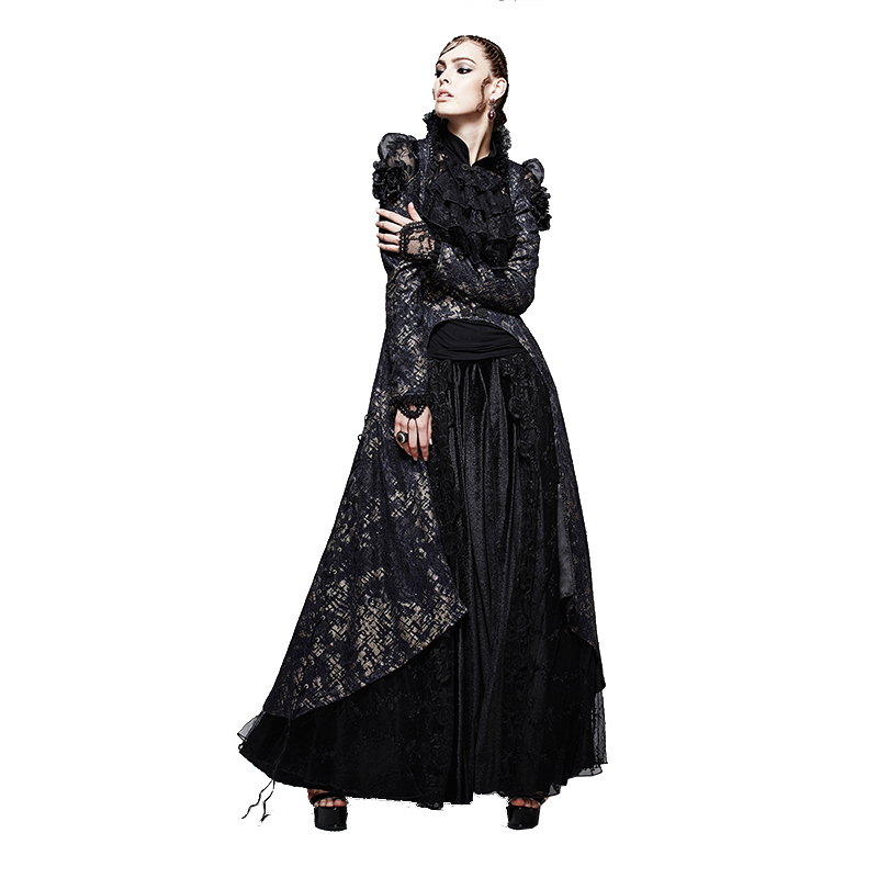 Punk Gothic Soft Lace Branded Swallow Tail Coat Dress Suit Ps