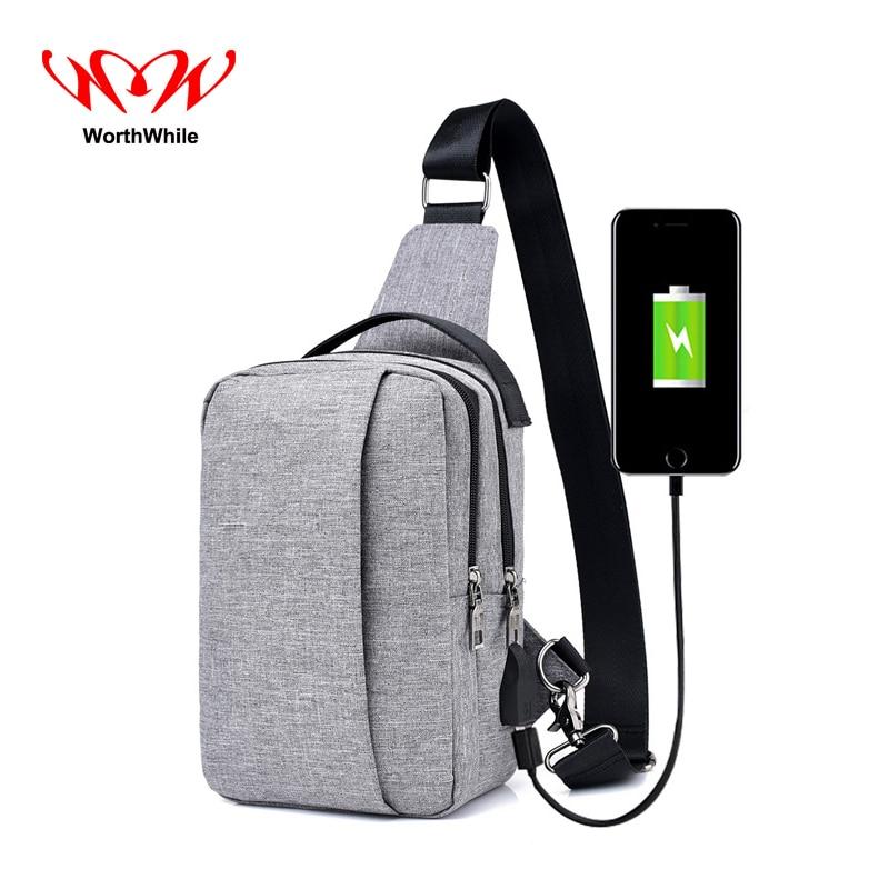 WorthWhile Hombres Mujeres Messengerbag con puerto de carga USB Solo - Bolsas de deporte