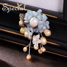 Special nueva moda natural perlas broches pin broche de la flor ramo de la boda romántica regalos de la joyería para las mujeres s1607b