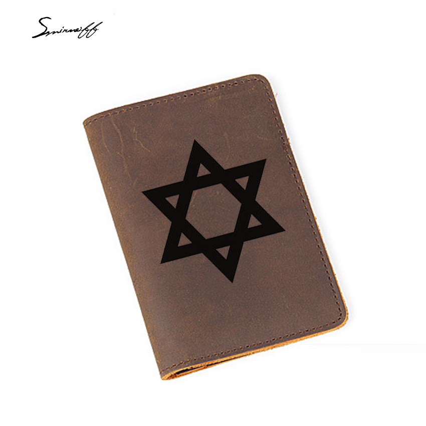 Israel Passport Credit Card Holder Engraved Six Awn Star Pattern Passport Holder Men Cow Leather Travel Cover For Passport