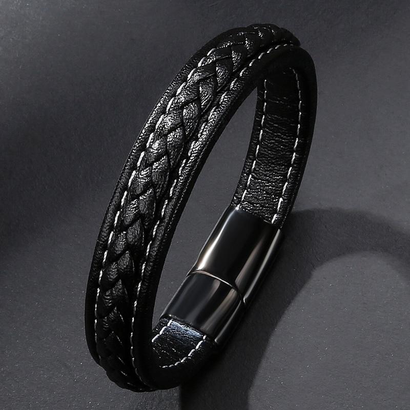 MOZO FASHION Pria Hitam Kulit Gelang Stainless Steel Magnetic Buckle - Perhiasan fashion - Foto 3