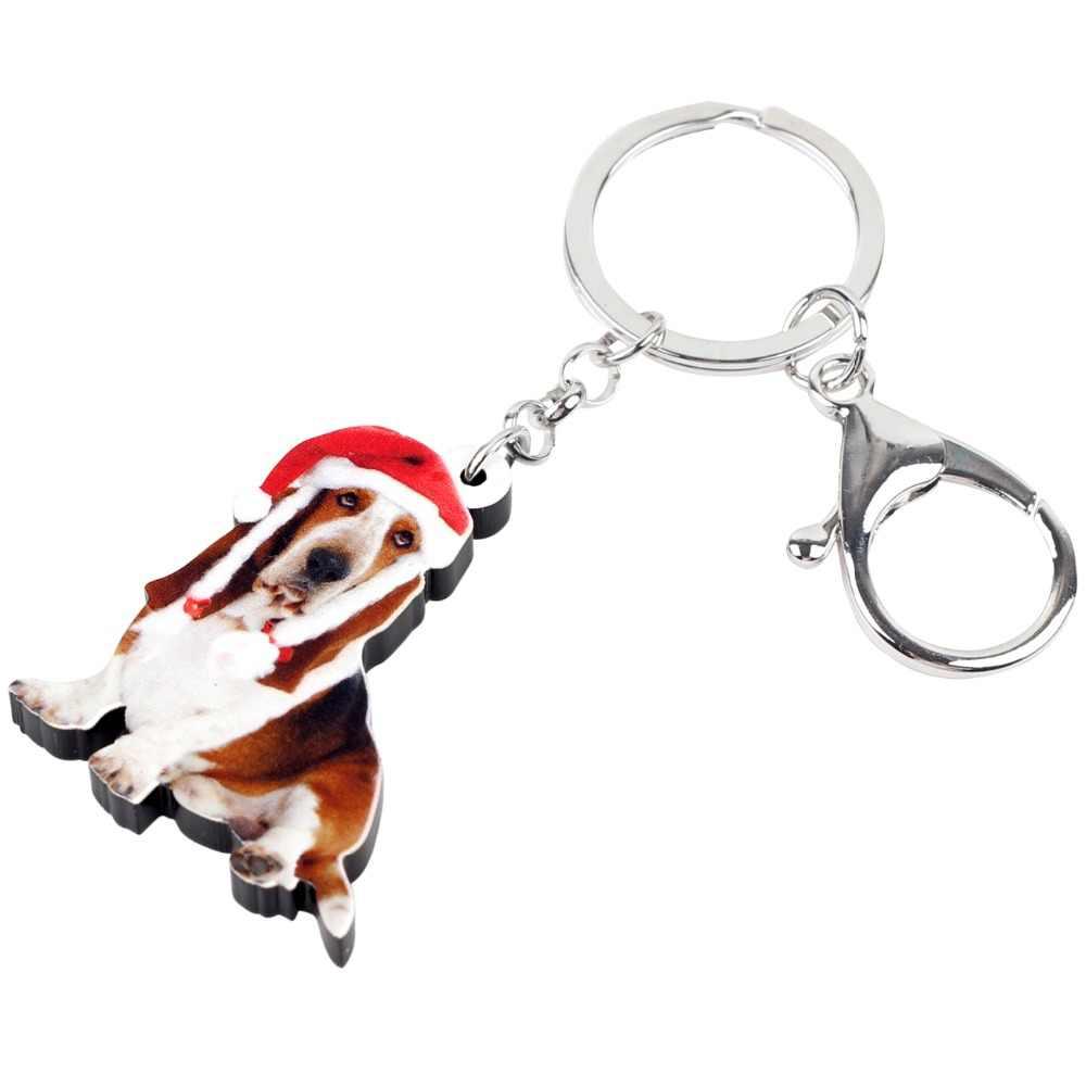 Bonsny акриловые милые рождественские Бассет-Хаунд брелок для собак брелки ювелирные изделия новинки для женщин девочек подростков подвески-сумочки