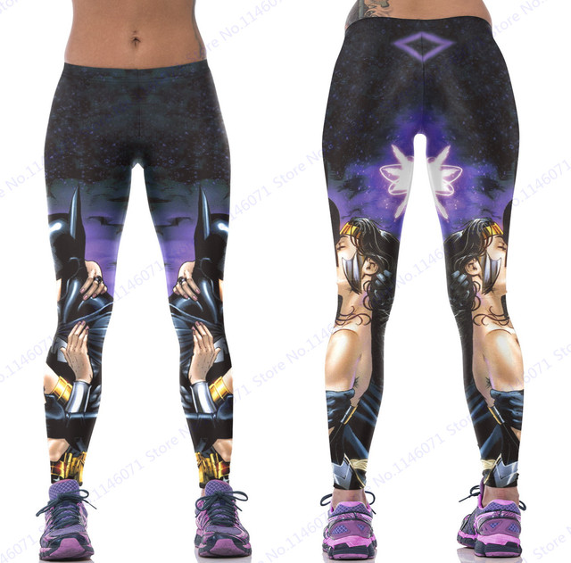 178ff7ad41d908 Batman Kissing Wonder Woman Sports Yoga Pants Purple Black High Waist  Fitness Leggings Compression Running Skinny Tights Women. Anniversary Sale  ...
