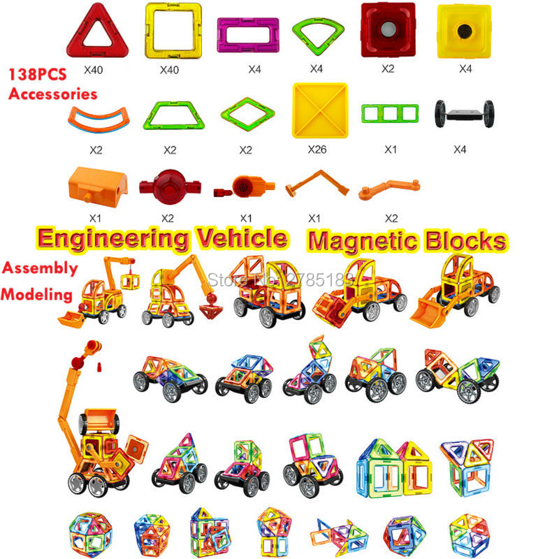 Magnetic Designer Engineering vehicle Cars 138PCS 3D Magnetic Construction Building Toy DIY Bricks Educational Toys For Children banbao 8531 construction engineering