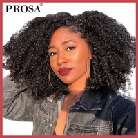 Short Human Hair Lace Front Bob Wig Mongolian Afro Kinky Culy Lace Front Human Hair Wigs For Women Black Pre Pluked Remy Prosa