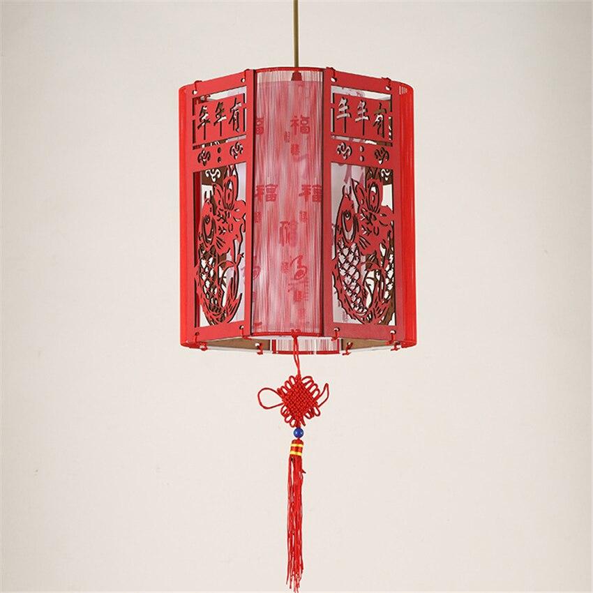 Chinesische Antike Kronleuchter Rot Licht Klassische Rote Holz Schaffell Lampe Beleuchtung Restaurant Wohnzimmer Schlafzimmer