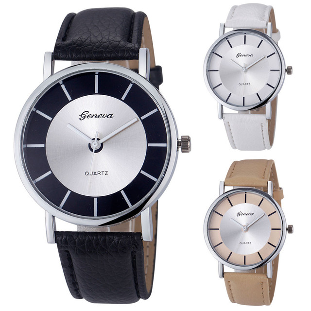 2018 Hot Geneva Women New Fashion Retro Dial Leather Analog Quartz Wrist Watch R