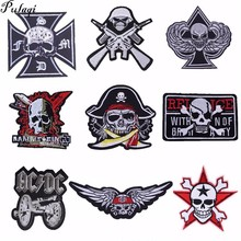 Pulaqi Skeleton Punk Skull Embroidered Patches for Clothing Stickers Iron On Clothes Biker Motorcycle For Jacket H