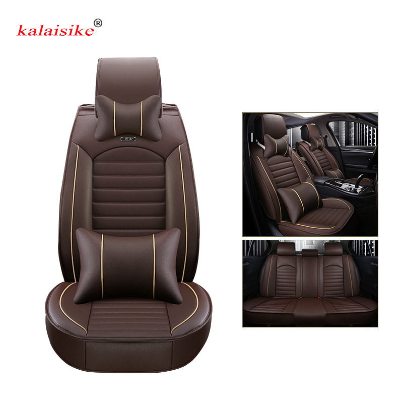 Kalaisike leather Universal Car Seat covers for Audi all models a3 a8 a4 b7 b8 b9 q7 q5 a6 c7 a5 q3 car styling car accessories new 3d styling car seat cover sports styling car covers ice silk car cushion for bmw audi a3 a4 a6 q7 q5 honda ford crv sedan