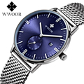 2016 New Luxury Brand WWOOR Quartz Watch Casual Men Black Japan Quartz-watch Stainless Steel Mesh Strap Ultra Thin Male Clock