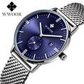 2016 Nova Marca de Luxo WWOOR Japão De Quartzo-relógio Relógio de Quartzo Homens Casuais Preto Cinta De Malha De Aço Inoxidável Ultra Fino Relógio masculino