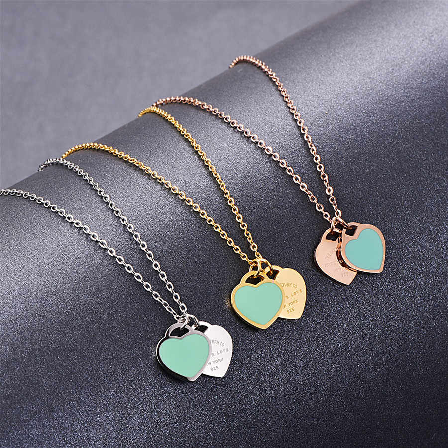 Martick Romantic Europe Style Heart Pendant Necklace Green Pink Color Double Heart Link Chain Necklace For Woman Jewelry P2