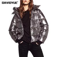 2018 winter parka jacket women warm Silver metal hooded Down jacket female Parkas Street zipper long sleeve winter coat female