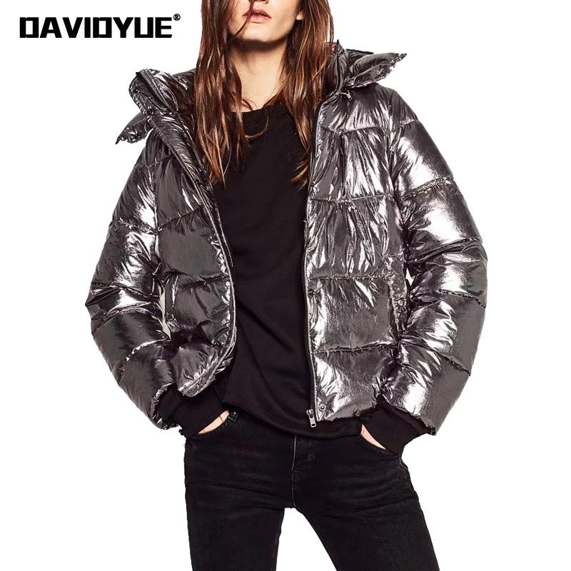 2018 winter   parka   jacket women warm Silver metal hooded Down jacket female   Parkas   Street zipper long sleeve winter coat female