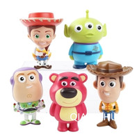 5pcs Set 7CM Toy Story 3 Woody Buzz Lightyear Jessie Squeeze Toy Aliens Lotso PVC Action