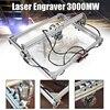 Mini 3000MW Blue Laser Engraving Engraver Machine DC 12V 50x65cm DIY Desktop Wood Cutter Printer Power