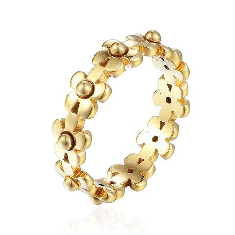 Женское кольцо с маргариткой изысканное из нержавеющей стали