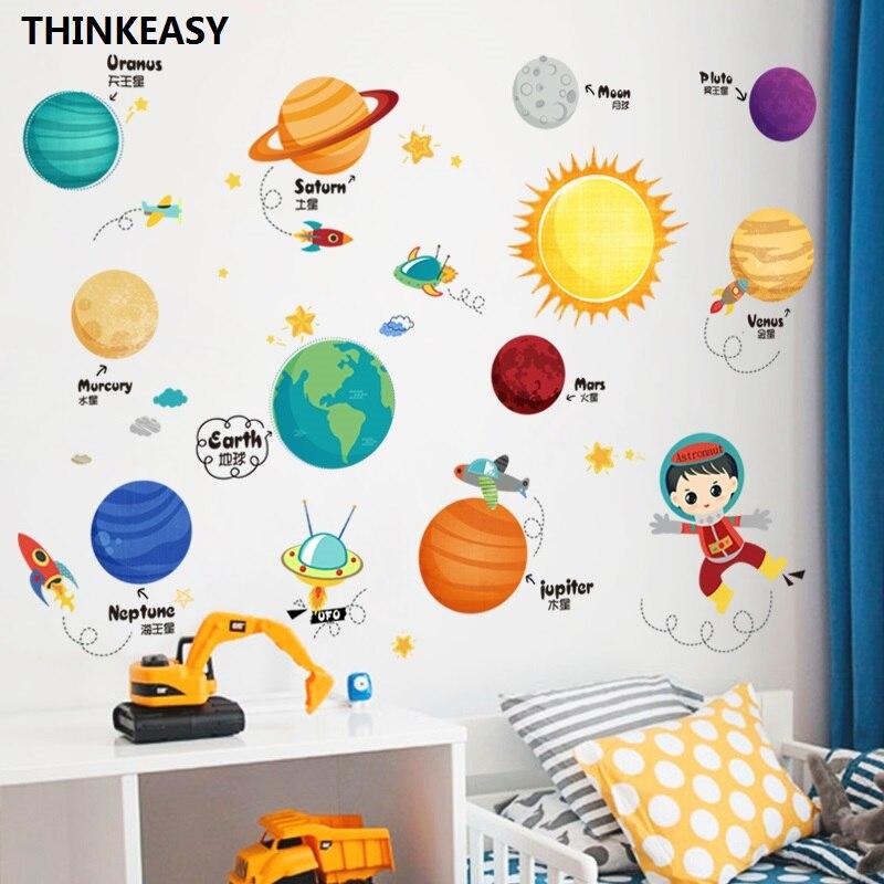 Enfants Éducation Précoce Espace Système Solaire Autocollant Mural Amovible EN PVC Autocollants Décor À La Maison Pour Chambre Salon Décoratif