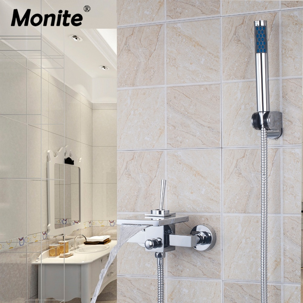 цена Wall Mounted Bathroom Faucet Bath Tub Mixer Tap With Hand Shower Head Shower Faucet