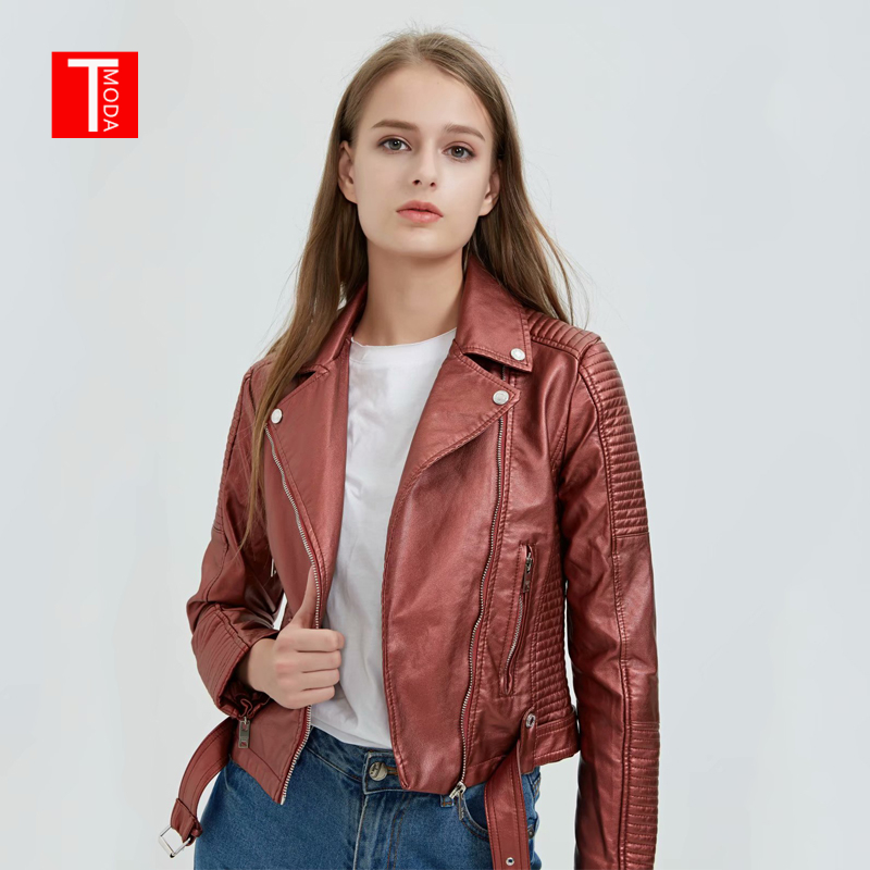 2018 New Autumn Witner Streetwear Women Motorcycle Faux PU   Leather   Red Jackets Lady Biker Outerwear Zipper Coat With Belt