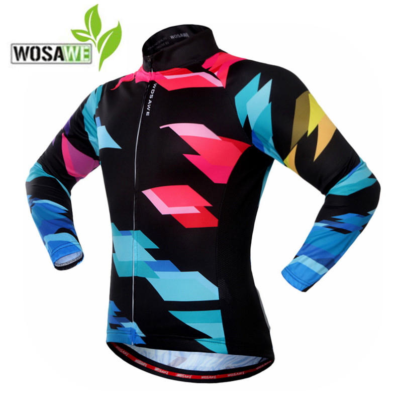 WOSAWE Mens pro Cycling Jersey team Long Sleeve Outdoor Sports Wear Top Bicycle mtb Cycling Clothing Riding cycling Clothes