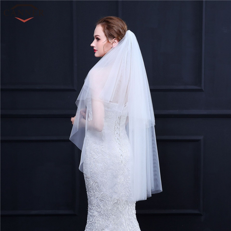 100cm Simple White Wedding Veils Long Two Layers Bridal Veils with Comb Wedding Accessories Soft Mesh Veil H40