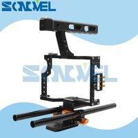 15mm Rod Rig DSLR Caméra Vidéo Cage Kit Stabilisateur + Top Handle Grip pour Sony A7 II A7R A7S A9 A6100 A6300 A6500 Panasonic GH4 GH3