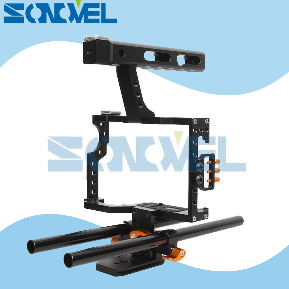 15mm Rod Rig DSLR Camera Video Cage Kit Stabilizer+Top Handle Grip for Sony A7 II A7R A7S A9 A6100 A6300 A6500 Panasonic GH4 GH3 dslr rod rig camera video cage kit