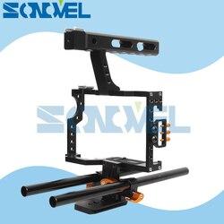 15mm Rod Rig DSLR Camera Video Cage Kit Stabilizer+Top Handle Grip for Sony A7 II A7R A7S A9 A6100 A6300 A6500 Panasonic GH4 GH3