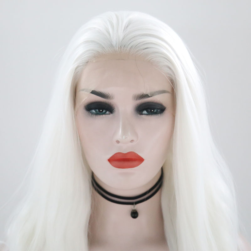 """Image 4 - JOY&BEAUTY White Pink Red Long Wig Synthetic Lace Front Wig  Heat Resistant Fiber 26"""" Natural Long Wavy Wig for White Women-in Synthetic Lace Wigs from Hair Extensions & Wigs"""