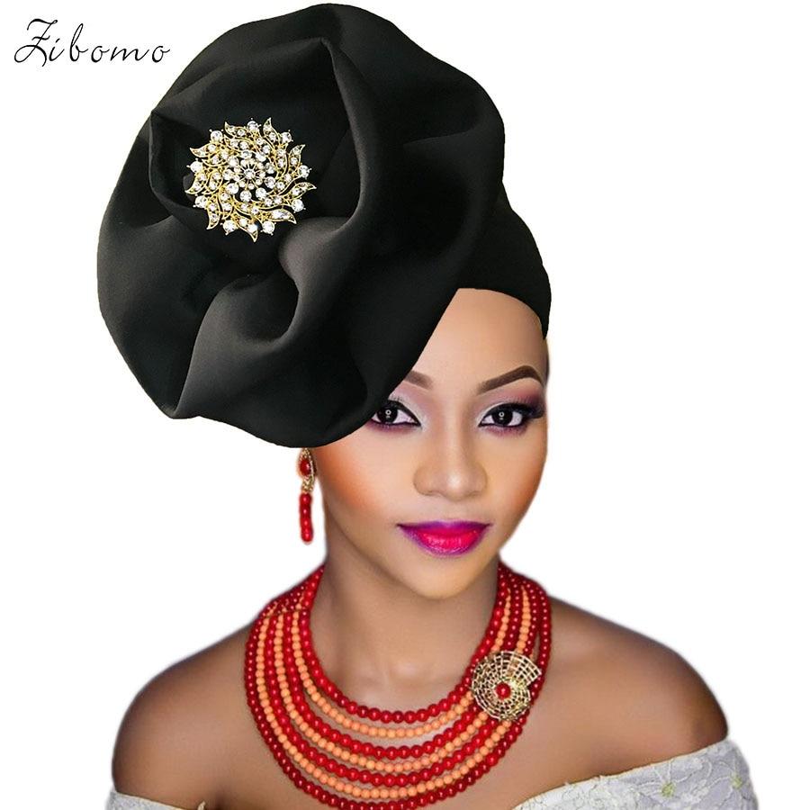 Turban headtie african turban cap aso oke gele ready to wear auto hele african lace auto gele aso ebi headtie 2018 new (12)