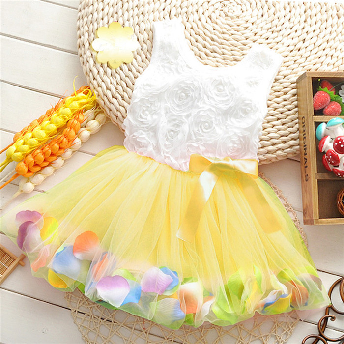 2018 new bowknot girl party dress baby birthday tutu dresses flowers lace baby vest baptism dresses