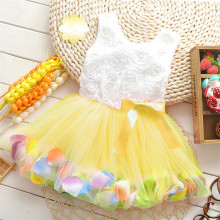 2018 new bowknot girl party dress baby birthday tutu dresses flowers lace baby vest baptism dresses pearls kids wedding dress