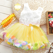 2019 new bowknot girl party dress baby birthday tutu dresses flowers lace baby vest baptism dresses