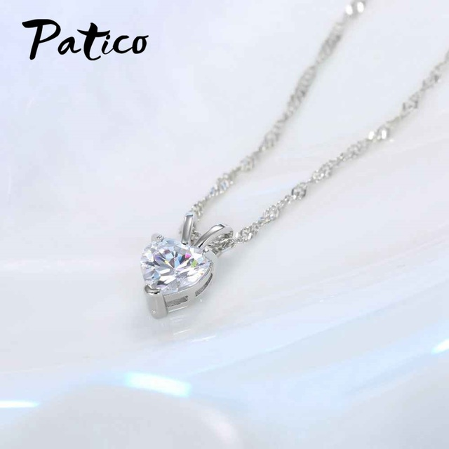 PATICO Romantic Heart CZ Pendant Necklace For Women Ladies 925 Sterling Silver 18 1