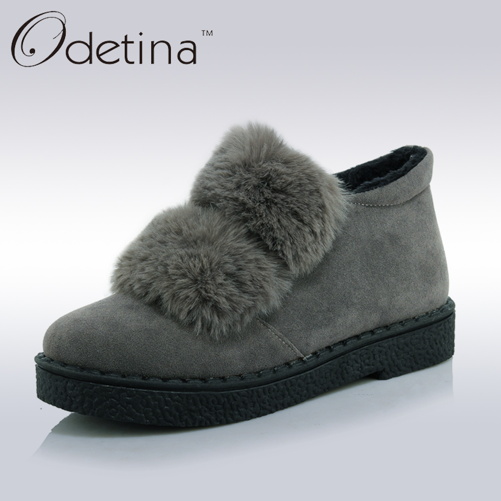 Odetina 2017 New Big Size 33-45 Women Real Rabbit Fur Ankle Snow Boots Warm Winter Round Toe Flat Slip on Booties Ladies Shoes 2017 winter new clothes to overcome the coat of women in the long reed rabbit hair fur fur coat fox raccoon fur collar