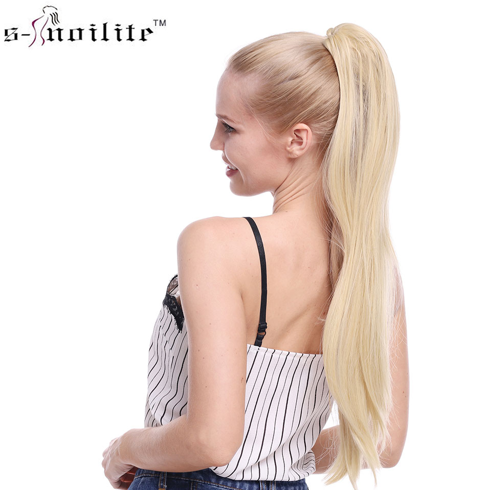 SNOILITE Synthetic Women Claw On Ponytail Clip In Hair Extensions Curly Style Pony Tail Hairpiece Black Brown Hairstyles