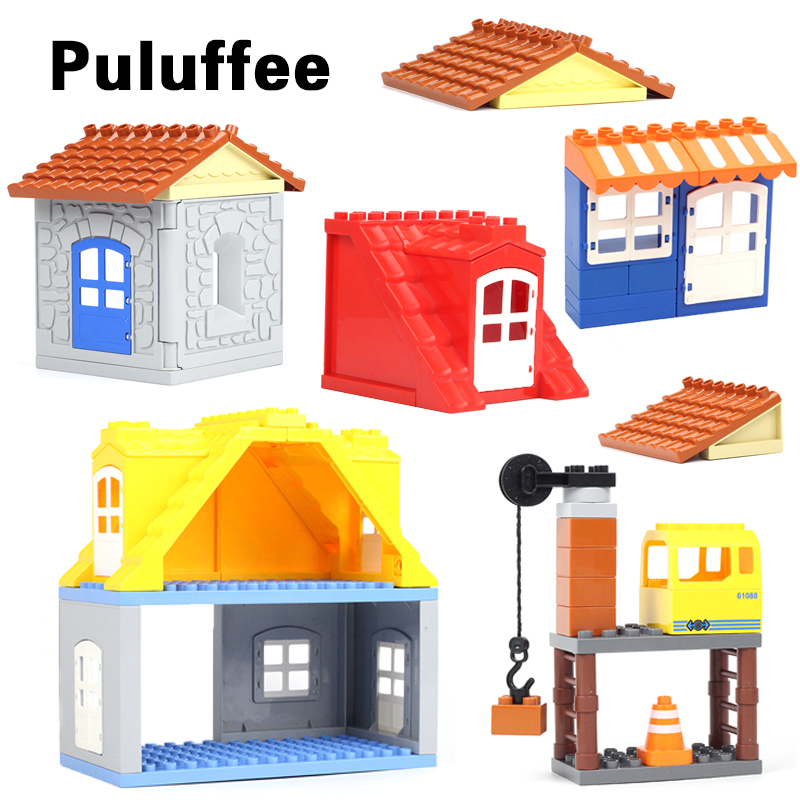 DIY City House Roof Big Particle Building Blocks Compatible With Duplo House Door Window Roof Bricks set Educational Toy For Kid цена
