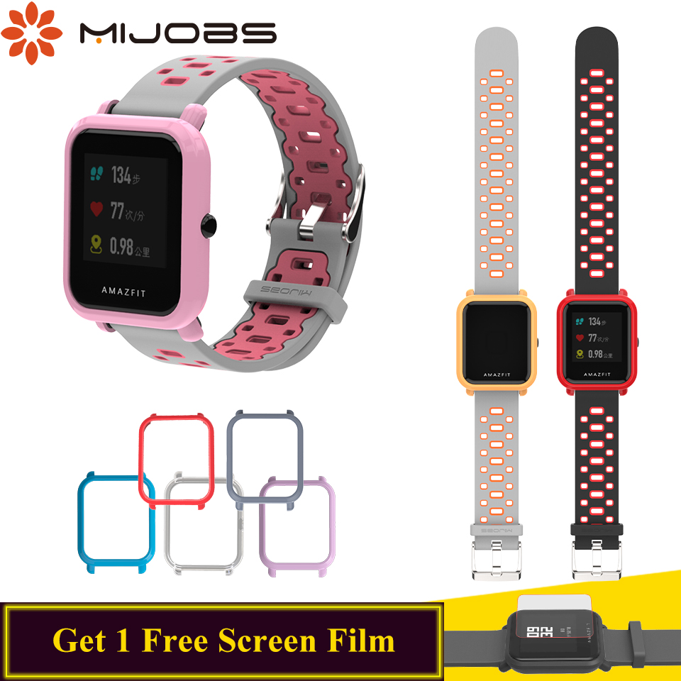 Mijobs 20mm Silicone Wrist Strap Sports Wristband Case Cover For Xiaomi Huami Amazfit Bip BIT Smart Watch Bracelet Accessories
