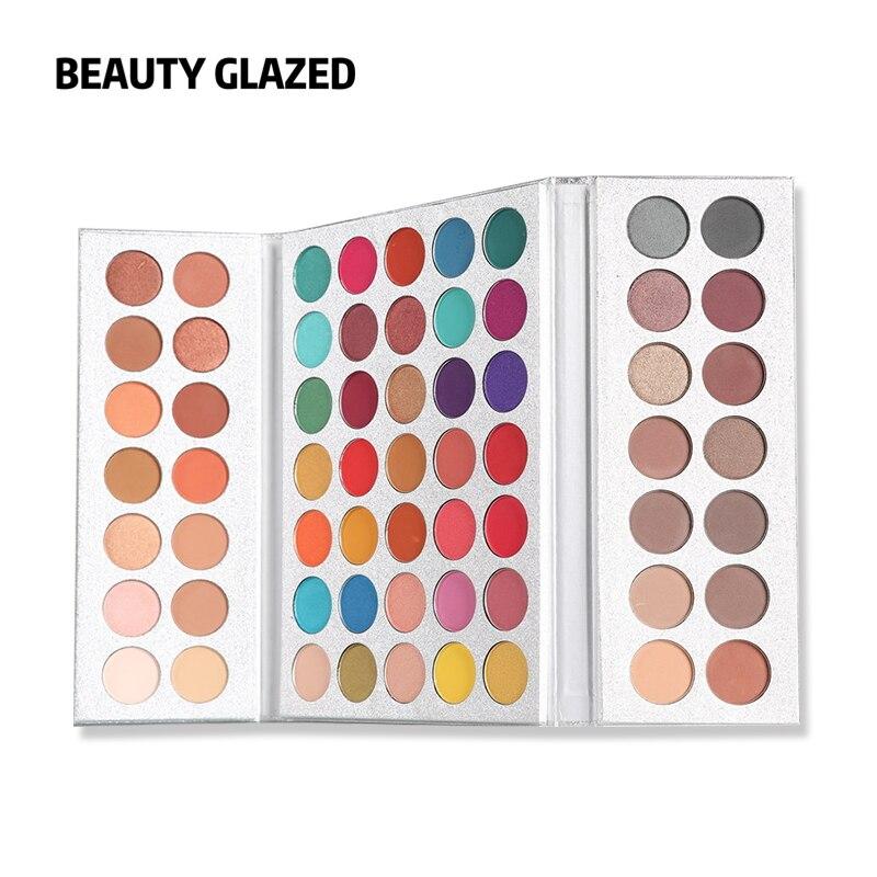 Beleza vitrificada 63 cores sombra de olho pallete longa duração fosco brilho pigmento fácil de usar olhos maquiagem paleta encantadora