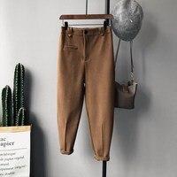 מכנסיים נשים הרמון מקרית חורף צמר קשמיר לעבות נקבה Pantalon מכנסי חאקי שחורים