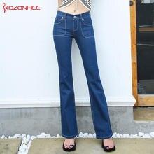 21b5ae13f780b KOZONHEE Flare Jeans Stretch Mulheres Longo Alongamento Bell-Bottoms Flare  Jeans Para Meninas Calças para mulheres Calças de Bri.
