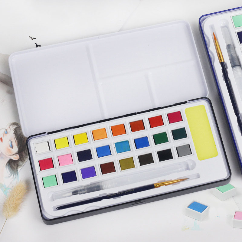 18/24/36/48 solid Watercolor set beginner Powder cake Art Supplies brush pigment 11 piece set matter for painting цена