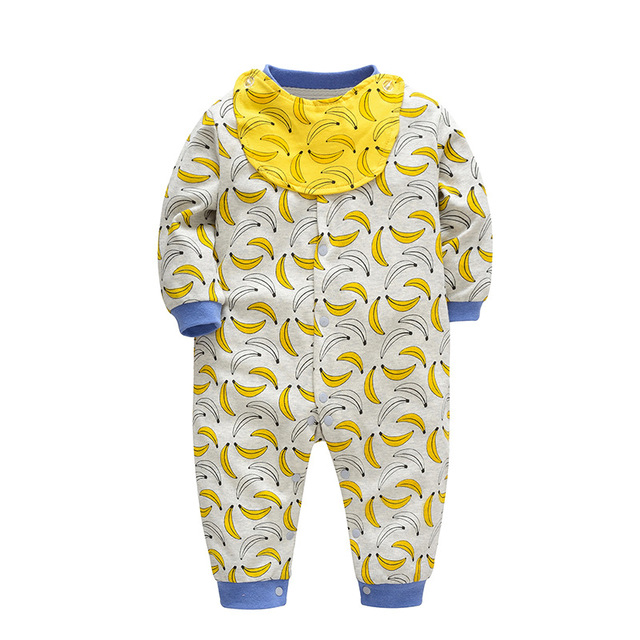 e512ab0f8d69 Cotton Banana Baby Romper with Bibs Clothing Body Suit Newborn Long ...