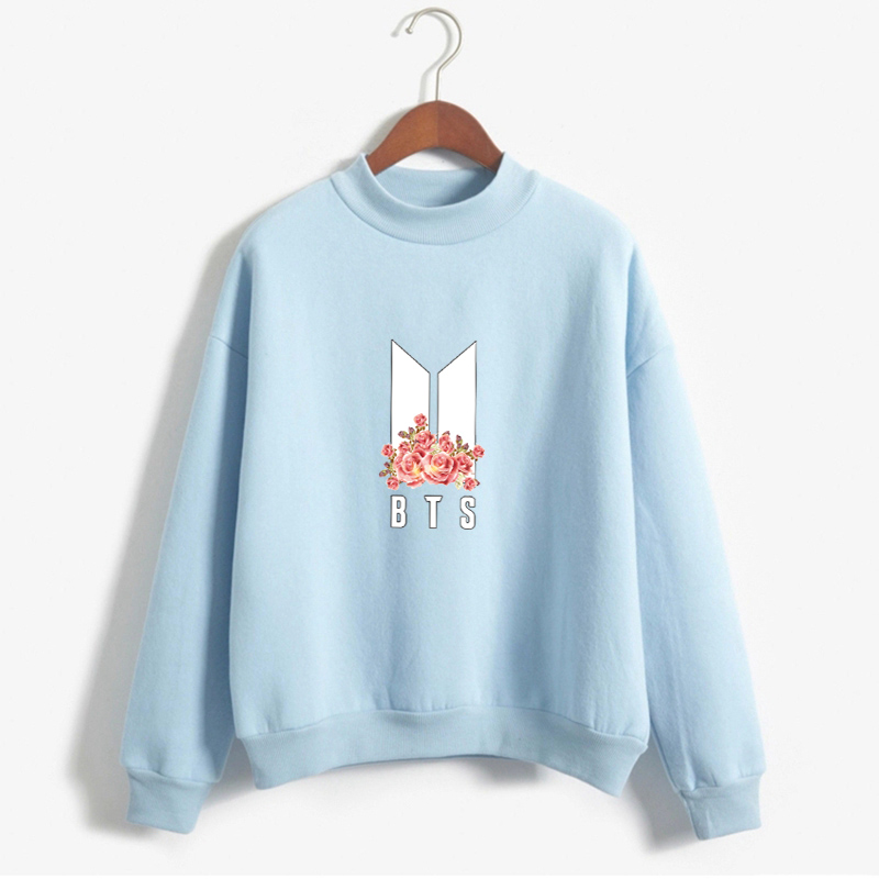 BTS Kpop Hoodies For Women Bangtan Boys Album Floral Letter Printed Autumn Winter Fleece Thick Sweatshirt Clothing Drop Ship