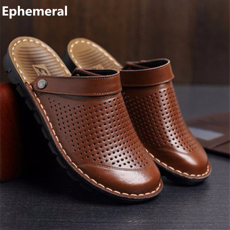 Men s Cheap Microfiber Slippers size 48 Genuine Real Leather Back strap Rivet Flat Cut Outs