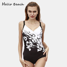 HELLO BEACH 2018 Plus Size Swimwear Female One Piece Swimsuit Women Vintage Large Size Padded Bathing Suit Sexy Push Up Swimsuit(China)