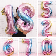 Iridescent 0-9 Foil Number Balloon 32 inch Rainbow Helium Birthday Party Numbers Balloons Decorations Figure Air JL0062