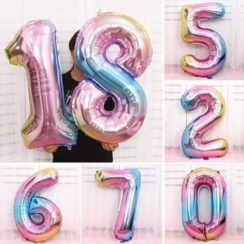 Opalizujący 0-9 numer balon foliowy 32 Cal Rainbow Helium Birthday Party Digit Ball dekoracje Gradient rysunek balony dekoracyjne tanie i dobre opinie Partinite CN (pochodzenie) Owalne FOLIA ALUMINIOWA Ślub i Zaręczyny Chrzest chrzciny Na Dzień świętego Patryka Wielkie wydarzenie